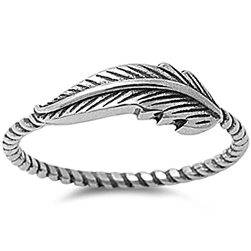 Oxford Diamond Co Feather Oxidized Twisted Band Celtic .925 Sterling Silver Ring Sizes 3-13 (3)