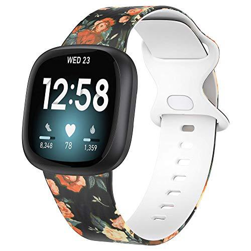 Glebo Compatible con Fitbit Versa 3/Fitbit Sense, correa de silicona suave, impermeable,correa de repuesto para reloj Versa 3, pulsera deportiva, accesorio para mujer y hombre, flor amarilla, pequeña