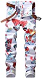 Enrica Men's Casual Color Printed Jeans Skinny White Denim Pants (5004 White&Color, 34)