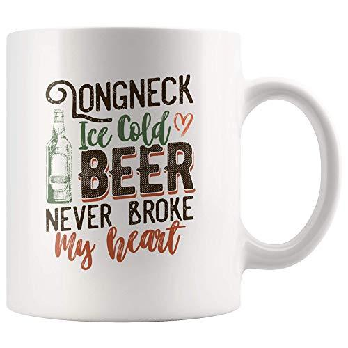 N\A Taza de Cerveza Helada Longneck Never Broke My Heart para Amante de la Cerveza, Amante del Vino, Taza de café para Beber, Regalo, Taza de té Retro Vintage de 11 oz
