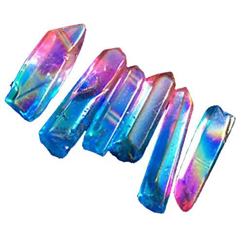 Loriver Heilstein Zauberstäbe aus Kristallquarz Punkte Zauberstäbe Edelsteinkies Original Steinverzierungen Probe Glückliche Heilung Natursteine und Kristalle Heilkristalle