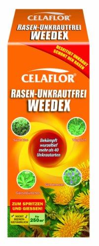 Celaflor Rasen-Unkrautfrei Weedex, Hochwirksamer Unkrautvernichter zur Bekämpfung von schwer bekämpfbaren Unkräutern im Rasen, Konzentrat, 250 ml Flasche