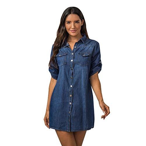 BUKINIE Soldes!!!Chemise en Jean Femme Été,Femme Jeans Robe Manches Courtes,T-Shirt Dress Robe Western 3/4 Sleeve Casual Blouse Chic (Bleu,XXL)