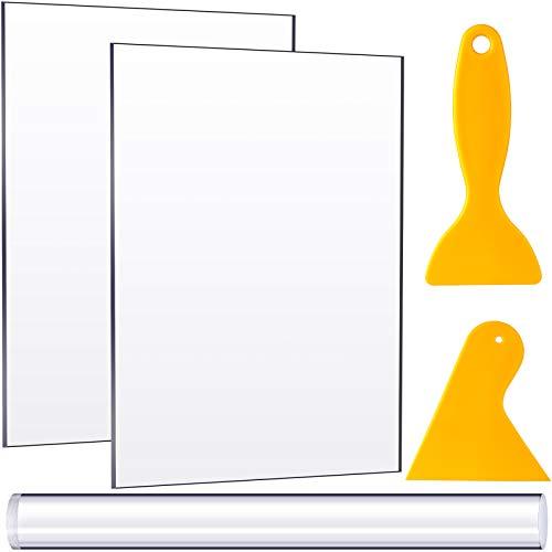 Rodillo de Arcilla Acrílica con Tablero de Lámina Acrílica Raspadores de Plástico Caucho Herramienta de Artesanía de Cerámica de Arcilla para Modelar Esculpir