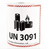 UN 3091 Lithium Battery Handling Labels - 300 Adhesive Labels Per Roll