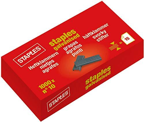 STAPLES® Heftklammer, No. 10, verzinkt (1.000 Stück), Sie erhalten 1 Packung á 1000 Stück