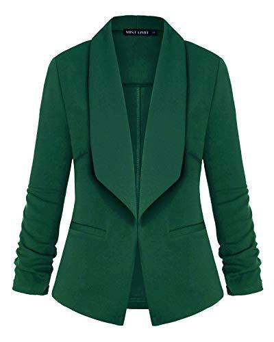 MINTLIMIT Women's Office Blazer Jacket Open Front (Green,Size L)
