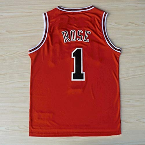 Derrick Martell Rose # 1, Chicago Bulls Uomo Senza Maniche T Shirt Altalena Camicie Sports Fan Edition Jersey NBA (Color : Red, Size : L)