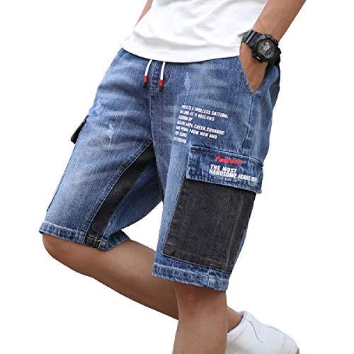 Pantalones Cortos de Mezclilla Finos de Verano para Hombres Pantalones de Cinco Puntos Sueltos Casuales Rectos de Estilo Coreano Large