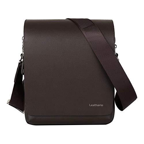 Leathario Umhängetasche Herren Klein PU Leder Schultertasche Messenger Bag Klein 9.7 Zoll Tablettasche Kunstleder für Männer