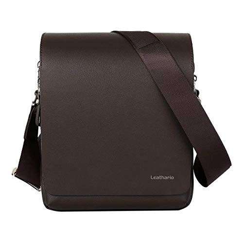 Leathario Men's Leather Shoulder Bag 11 inch iPad Bag Cross Body...