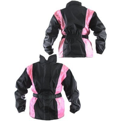 Xelement RN4786 Ladies Black and Pink 2-Piece Motorcycle Rain Suit with Boot Strap - 3X-Large