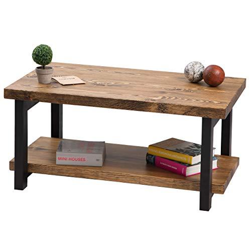 Gozos Couchtisch massiv aus Kiefer - Coffee Table aus Holz in 100x60 - Couchtisch Retro mit schwarzen Füßen aus Metall - Einzelstück nach Landhausstil in Handarbeit gefertigt