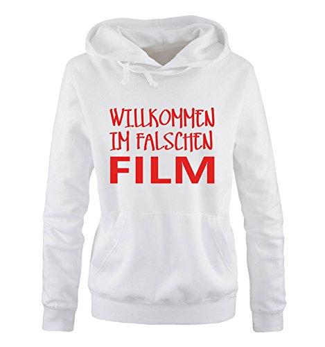 Comedy Shirts - Willkommen im falschen Film - Damen Hoodie - Weiss / Rot Gr. L