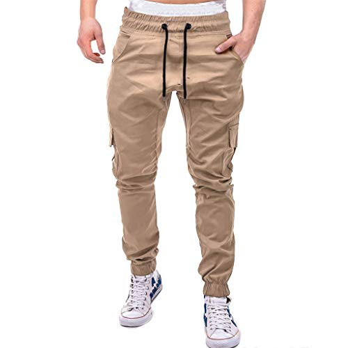 Forthery-Men Pants for Men Slim Fit, Classic Resistant Flat Front Fit Wrinkle Chino Pant Khaki