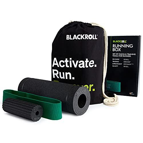 BLACKROLL® RUNNING BOX - Faszientool-Set - das Original. Faszienrollen-Set für Läufer bestehend aus SLIM Faszienrolle, MINI FLOW, LOOP BAND, RUNNING BAG