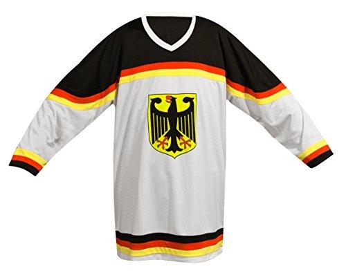 SportTeam Herren Eishockey T-Shirt, Mehrfarbig (Weiß/Schwarz), XL