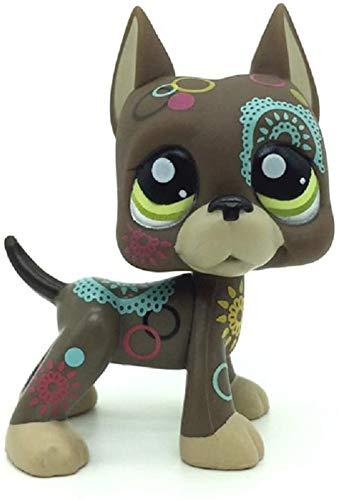 N/N Littlest Pet Shop, LPS Toy Rare Brown Chocolate Great Dane Dog Puppy Green Eyes