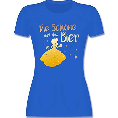Typisch Frauen - Die Schöne und das Bier - L - Royalblau - Tshirt Alkohol Damen - L191 - Tailliertes Tshirt für Damen und Frauen T-Shirt