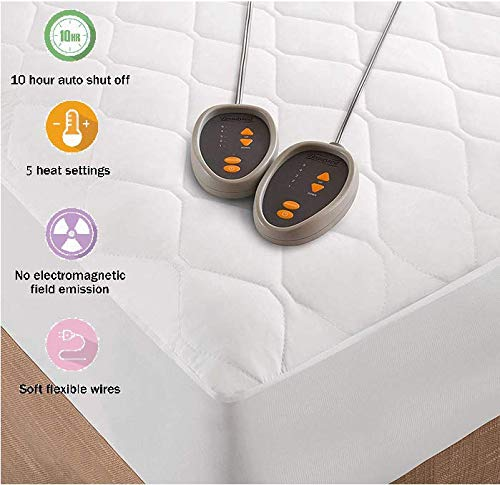 Beautyrest Cotton Blend Heated Mattress Pad Secure Comfort Technology-Luxury Quilted Electric Deep Pocket-5-Setting Controllers-5 Years Warranty, Queen, White