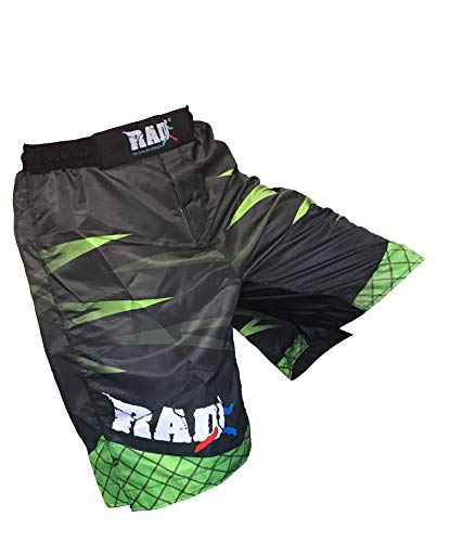 2Fit RAD MMA Short de combat pour arts martiaux, Muay Thai, Kickboxing (Vert, XL)