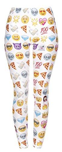 fringoo Damen-Leggings, für Sport/Tanzen Gr. One size , Emoji White