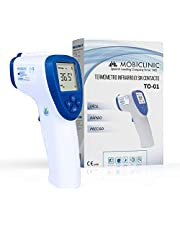 Mobiclinic, TO-01, Infrarood thermometer, Infrarood voorhoofdthermometer, Digitale thermometer, Contactloze thermometer, Geheugenfunctie, LCD-display, Koortsalarm, Infraroodsensor, Blaw