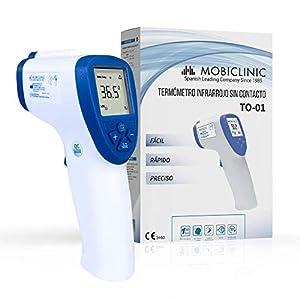Mobiclinic, Termómetro digital infrarrojos sin contacto, de frente, Marca Española, Grado Médico, Marcado CE, Pantalla LCD, Alarma de fiebre, Función de Memoria