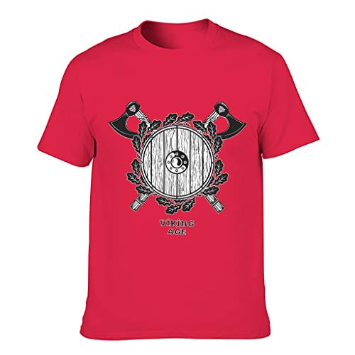 MiKiBi-77 Camiseta de algodón para hombre Viking Ax Casual cuello redondo - Top para competiciones