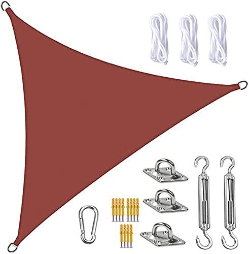 FFJD Vela De Sombra Sun Shade Sail Canopy Triangle UV Block Impermeable Sun Shade Toldo con Kit De Fijación para Jardín, Patio, Piscina, área De Barbacoa, óxido Rojo(Size:3X3X3m/10X10X10ft)
