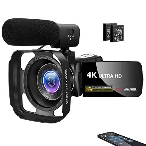 Camcorder Video Camera 4K 30MP Digital Camcorder Camera with Microphone Ultra HD Vlogging Camera with Remote Control Rotatable 3.0 in Touch Screen