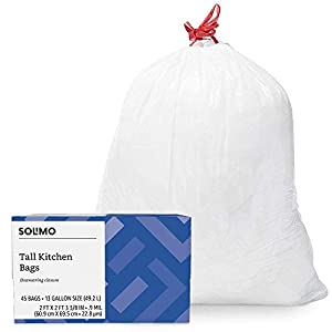 Includes 45 tall kitchen garbage bags Each trash bag has a 13 gallon capacity White trash bag with red drawstring closure for easy tying and carrying An Amazon brand