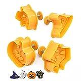 HUA stampi biscotti caramelle halloween ,4Pcs Tagliabiscotti di Halloween Biscotti Biscotti Bakeware Fondente Biscotti Tagliapasta Set ,Plastica
