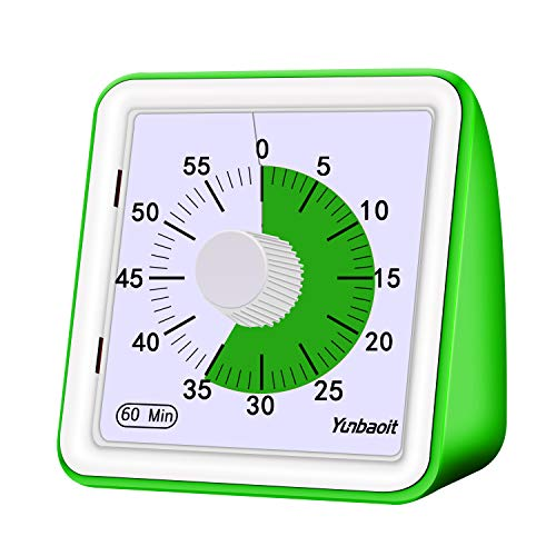 Yunbaoit Visual Analog Timer,Countdown Clock,No Loud Ticking,Time Management Tool for Kids and...