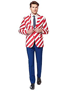 Opposuits American Flag Suit for Men USA Outfit for The 4th of July with Pants Jacket and Tie,United Stripes,38