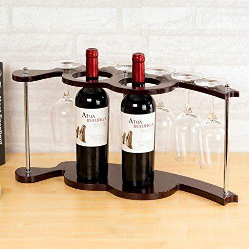 HuaHua-Housewares wijnrek, houten wijnrek onder kastje glazen houder hangende stemware houder voor bar keuken wijnfles rek