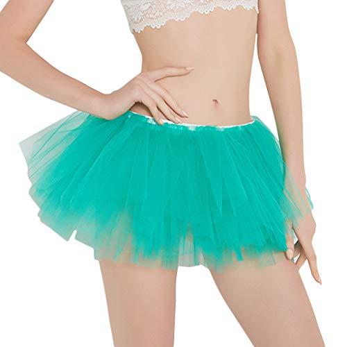 Kviklo Damen Ballet Tanzzubehör Mini Tutu Rock 1950er Tüllrock Zubehör für Frauen Chiffon Sommer Unterrock(Grün,One Size)