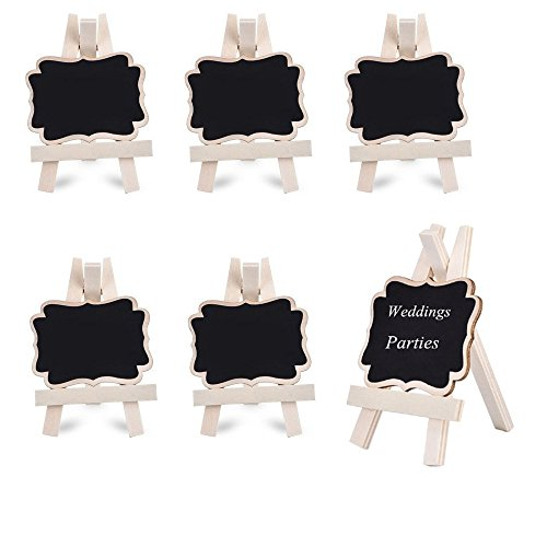 Megrocle 6 Pack Mini Framed Chalkboard Place Cards with Easel for Weddings and Parties, Graduation Party Supplies, Message Board Signs