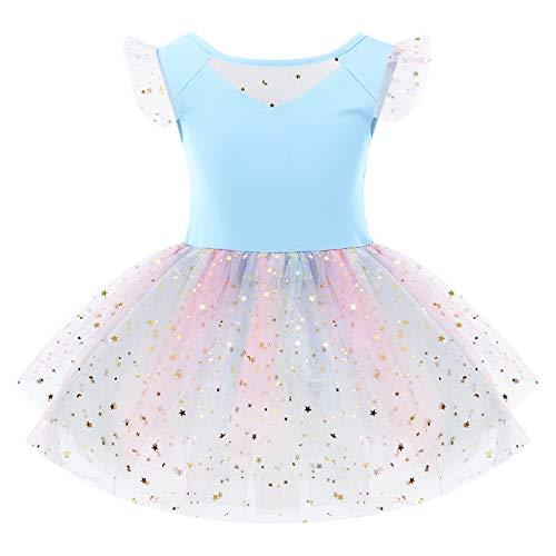 OBEEII Vestido de Ballet de Danza Maillot para Niña Tutú Tulle Falda Traje de Leotardo Gimnasia Bailarina Fiesta Azul 5-6 Años