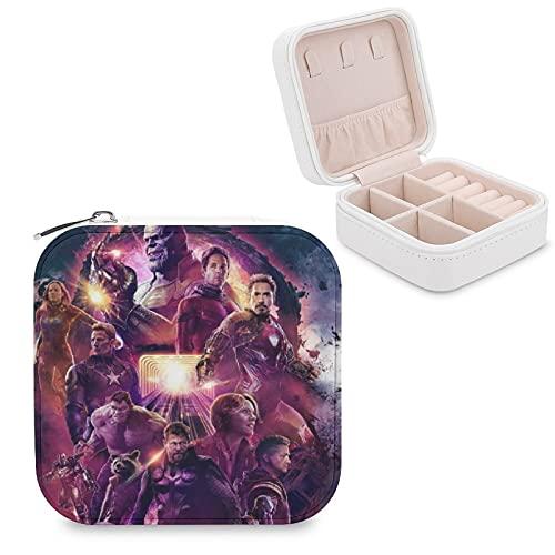 Vengadores Endgame Capitán Iron Man Thanos Joyero de piel sintética de viaje portátil, para collar, pendientes, pulseras, anillos, relojes, caja de almacenamiento para mujeres