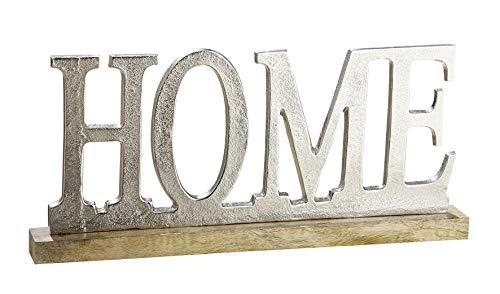 Moderner Schriftzug Aufsteller Home silber auf Mangoholz 48x5x22 cm