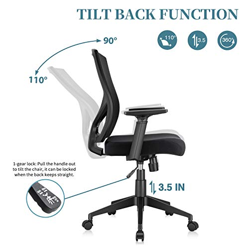 ELABEST Office Chair Ergonomic Desk Chair, Swivel Task Chair with Adjustable Armrest, Soft Sponge Cushion, Lumbar Support, Mid Back Mesh Computer Chair