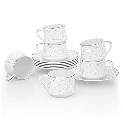 6-Piece Porcelain Ceramic Coffee Tea Gift Sets, ADDTREE Light Series 100% Handmade Sliver Stripe Tea Service Set(4 OZ),Ceramic Cup,Teapot, Sugar Bowl