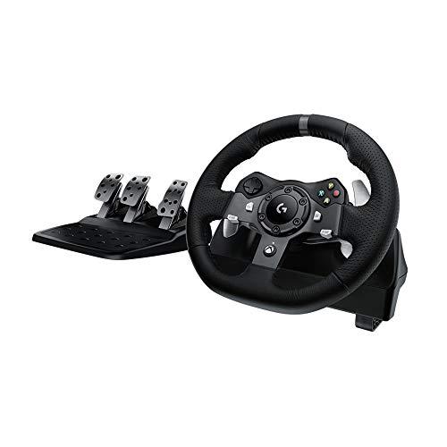 Oferta de Logitech G920 Driving Force Volante de Carreras y Pedales, Force Feedback, Aluminio Anodizado, Palancas de cambio, Volante de Cuero, Pedales Ajustables, Xbox Series X|S, Xbox One, PC - Negro