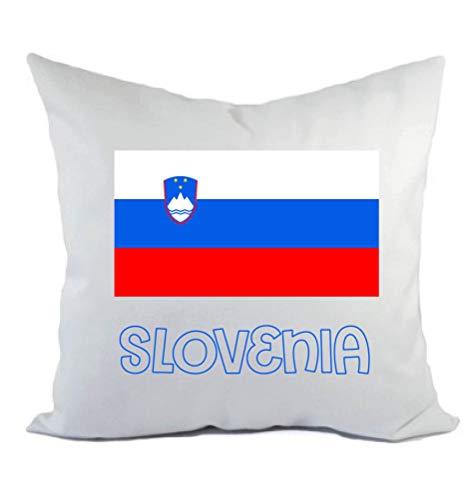 Typolitografie Ghisleri kussen wit Slovenië met vlag kussensloop en vulling 40 x 40 cm van polyester