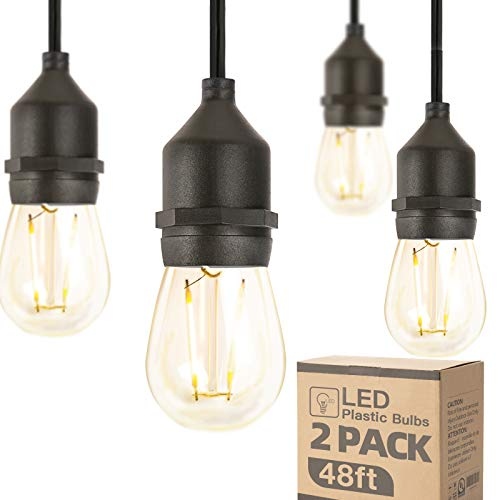Amico 2 Pack 48FT LED Outdoor String Lights with 2W Dimmable Edison Vintage Plastic Bulbs, Commercial Great Weatherproof Strand, UL Listed Heavy-Duty, Decorative Patio Cafe Market Porch Lights