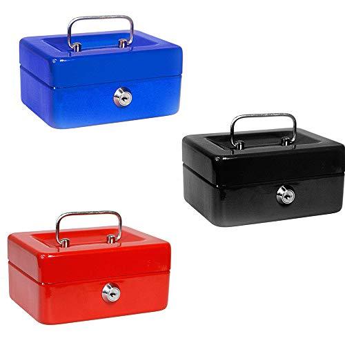 Vetrineinrete® Cassetta portavalori cassaforte di sicurezza in metallo con scomparto e divisori portamonete doppia chiave 25X18X9 CM B57