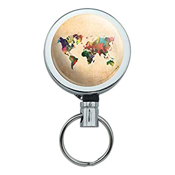 Colorful Rainbow Map of The World Earth Globe Heavy Duty Metal Retractable Reel ID Badge Key Card Tag Holder with Belt Clip