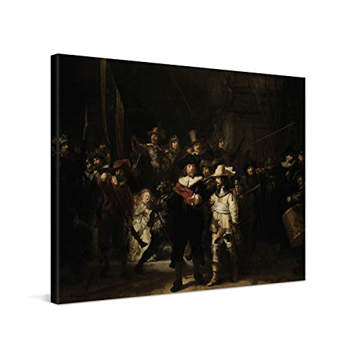 PICANOVA – Rembrandt – The Night Watch 80x60cm – Cuadro sobre Lienzo – Impresión En Lienzo Montado sobre Marco De Madera (2cm) – Disponible En Varios Tamaños – Colección Arte Clásico