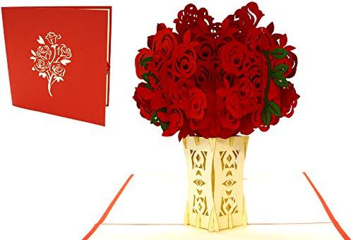 LIN17522, POP - UP Karten Blumen, POP UP Karten Geburtstag, Pop-Up Karte Muttertagskarte Geburtstagskarte Muttertag Gute Besserung Blumen Gruß, Rosen, N275